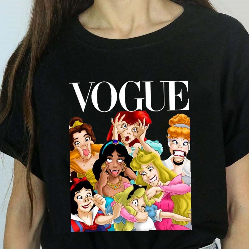 Women Princess Vogue Harajuku Black T Shirt Female Summer Short Sleeve T shirt Girl Vogue Tops Tee T-Shirts  - AliExpress