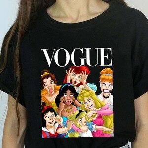 Women Princess Vogue Harajuku Black T Shirt Female Summer Short Sleeve T-shirt Girl Vogue Tops Tee(China)