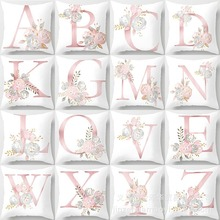 1PCS Pink 45x45cm Letter Decorative Pillow Cushion Covers Pillowcase Cushions for Sofa Polyester Pillow Cover for Home Goods gold leaves print pillow cover home cotton pillowcase cushion cushion decorative cushions for sofa seat covers throw pillow case