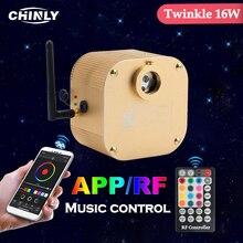 Bluetooth Twinkle CREE Chip fibra óptica motor Smartphone APP Control, control de música 16W RGBW controlador de luz LED para todas las fibras