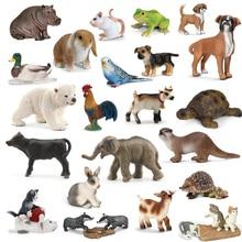 オリジナル本物の野生命の動物園ジャングルファーム動物モデルシリーズ 2 オンドリヤギアヒルカワウソ教育玩具子供ギフト