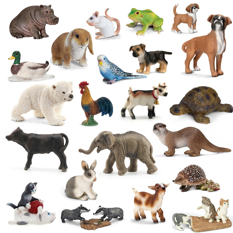 Original genuine wild life zoo jungle farm animals model series 2 rooster goat duck otter kids educational toy for children gift image
