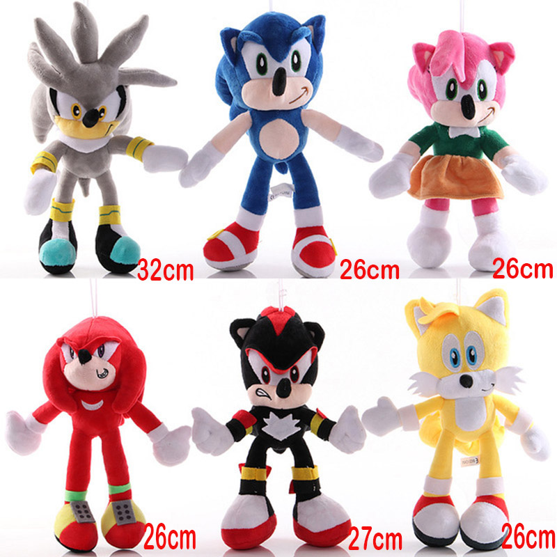 26 32cm Sonic The Hedgehog Plush Shadow Plush Super Sonic Plush Toy Doll Knuckles The Echidna Tails Silver Sonic Keychain Toys Movies Tv Aliexpress
