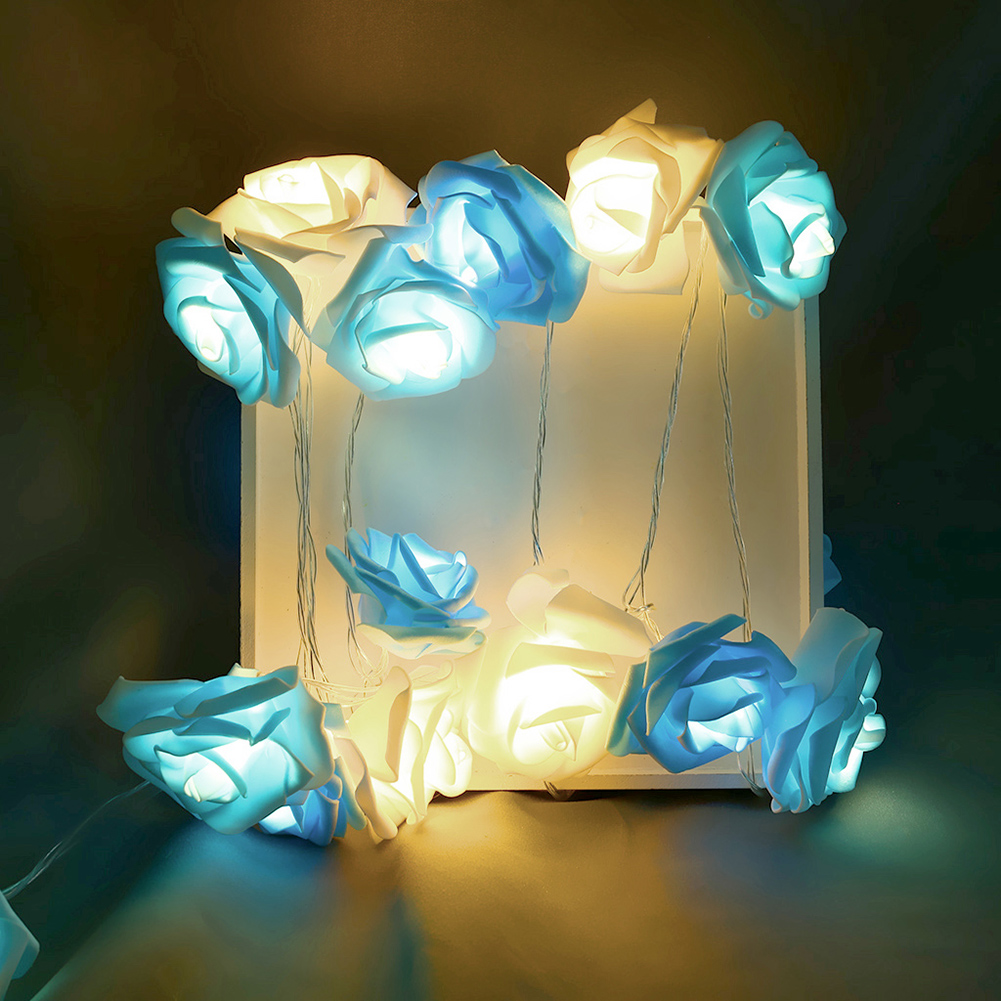 20 LED Rose Flower String Lights Party Festival Decor Lamp EU Plug 220V Used In Festival Lighting Party Wedding Bedrooms 3.7M