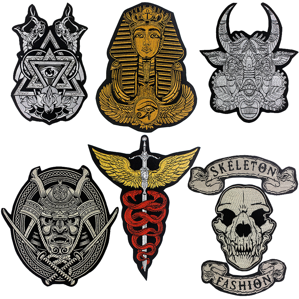 Embroidered Punk Fashion Skeleton Sheep Skull Warrior Sword Wing Snake Patch Buddha Statue God Iron-on Motorcycle Clothes Badge