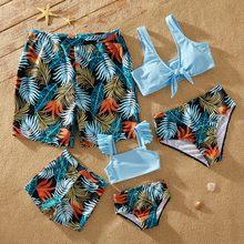 Patpat 2021 verão olhar da família roupa de banho sólido superior e floral impressão shorts combinando maiôs roupas nova chegada para o feriado