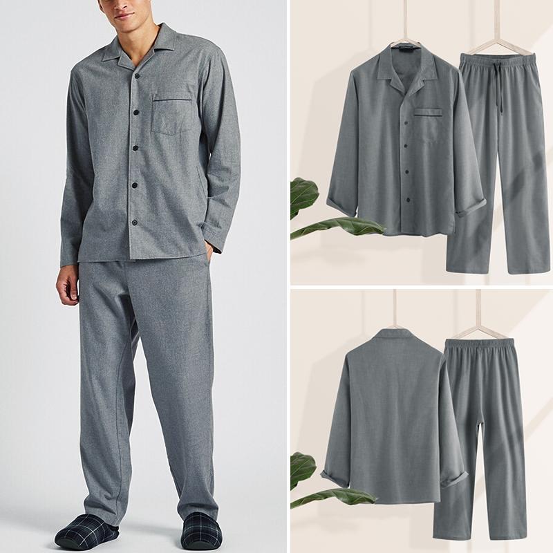 INCERUN Men Solid Color Pajamas Sets Man Lapel Long Sleeve Shirts Long Pants Homewear Soft Male Casual Sets Sleepwear Plus Size