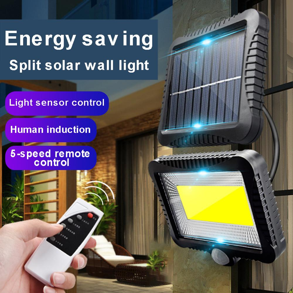 180LM 120LED COB 4 Modes Solar Motion Sensor Wall Light Remote Control Outdoor Waterproof Garden Courtyard Porch Driveway Lamp