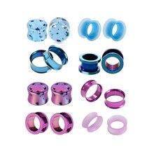 8pcs/set Acrylic Stainless Purple Blue Flower Ear Expander Enlargement Fashion Earpin For Body Piercing Jewelry