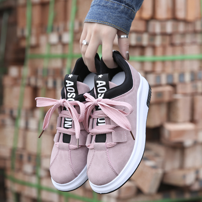 Woman Sneakers sport shoes wedge platform lace-up suede AD-975