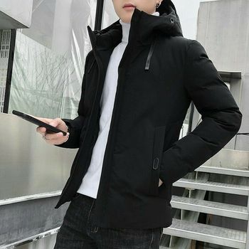 Men Thicken Hooded Jacket Quilted Cotton Outwear Padded Winter Warm Outwear Parka Coat Slim L015 men winter jacket workwear hooded reflective thicken padded cotton clothes wear resistant work safety jacket workshop coat