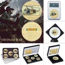 WR США Вьетнам военный позолоченные монеты коллекционные с монетницей оригинальные армейские монеты набор медаль подарок пункт дропшиппинг