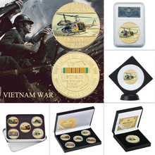 WR US Vietnam War Military Gold Plated Coins Collectibles with Coin Holder Original Army Coins Set Medal Gift Item Dropshipping low price coins big discount custom personalized coins wholesale usa challenge coin cheap us military coins