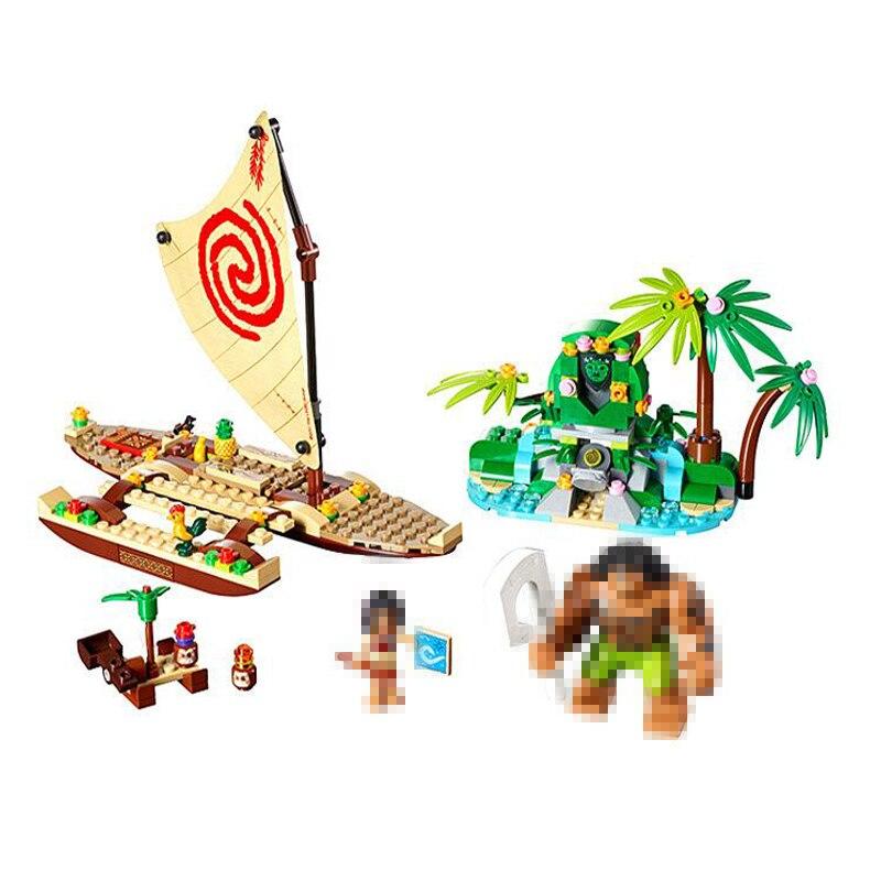 Princess Moana's Ocean Voyage Building Blocks Compatible Lepining Friends  Kits Moana Vaiana Island Figures Bricks Model Toys
