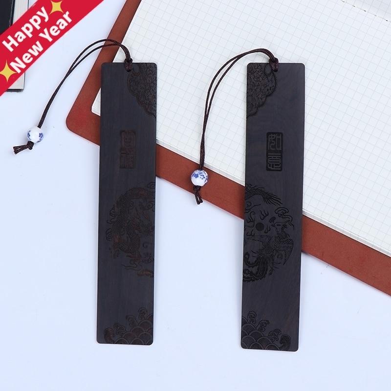 Chinese Style Retro Bookmarks Ebony Sandalwood Wood Quality, Exquisitely Carved High-Quality Stationery Bookmarks