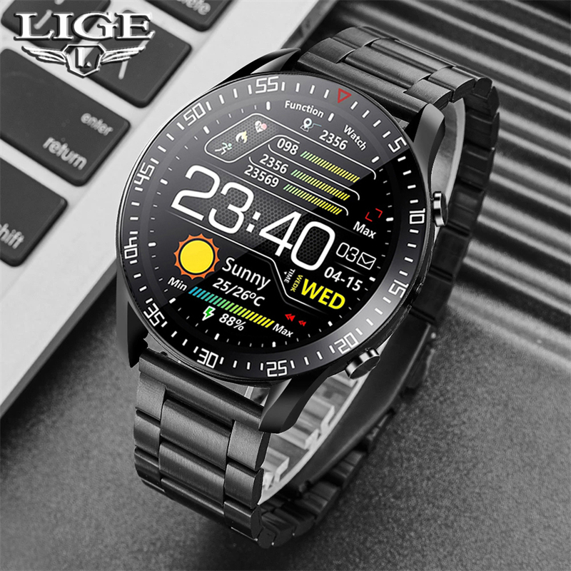 Permalink to LIGE New Smart watch Men Full touch Screen Sports Fitness watch IP68 waterproof Bluetooth Suitable For Android ios Smart watch