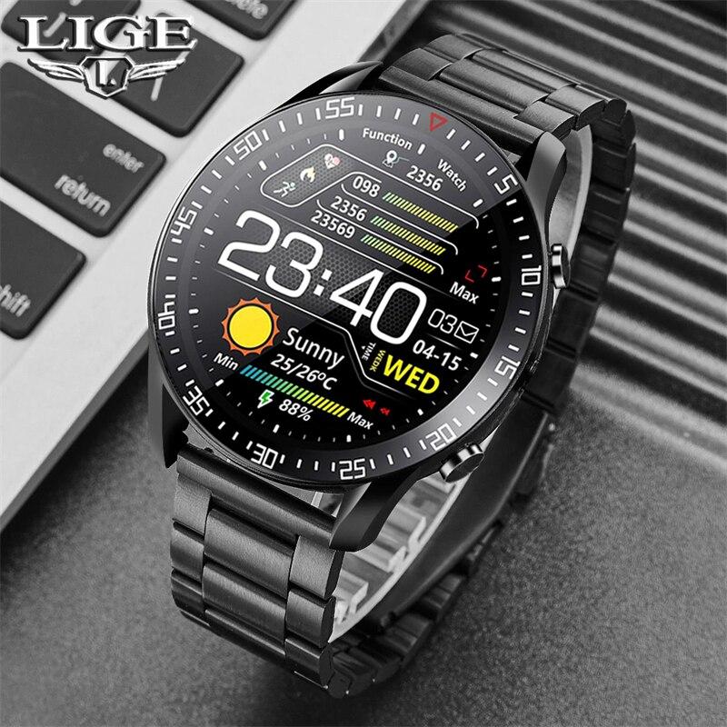LIGE New Smart watch Men Full touch Screen Sports Fitness watch IP68 waterproof Bluetooth Suitable For Innrech Market.com