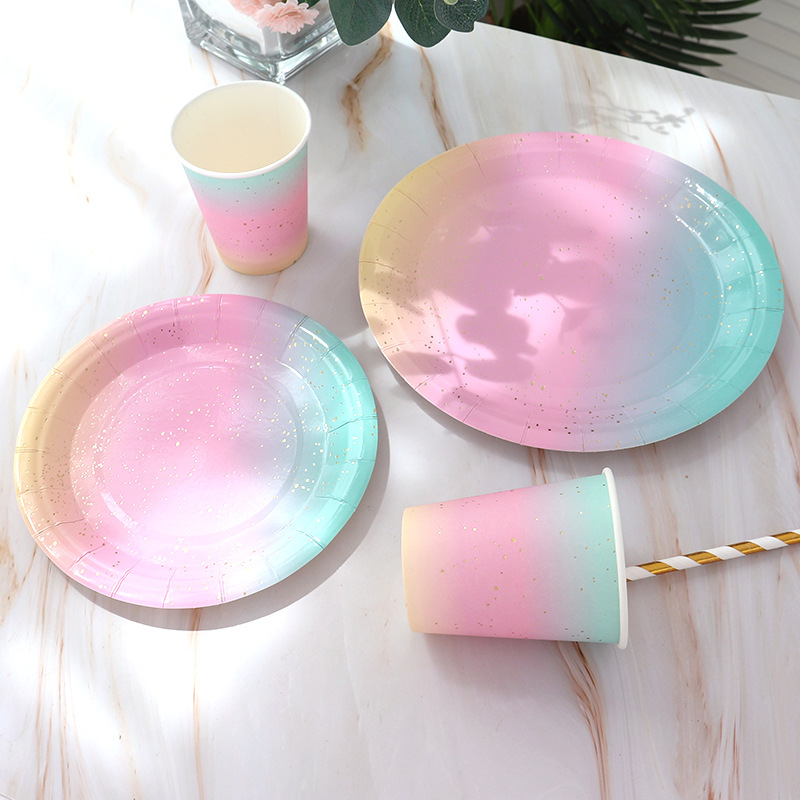 Rainbow Gradient Color Disposable Tableware Set Bronzing Dot Decorating Paper Plate Cup Straw for Wedding Birthday Party Supply