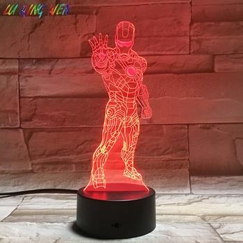 heroSuper Hero Iron Man 3d Night Lamp Decoration Home Boys Children Kids Bedroom Table Led Light Gift
