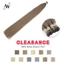 AW-extensiones de cabello humano Natural Remy Fusion Stick, de queratina recta, prepegado, doble estiramiento, 20 '', 28'', 1 g/h