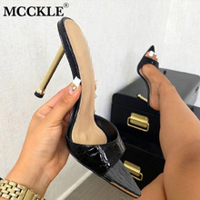 MCCKLE Fashion Women High Heels Shoes Pointed Toe Mule Slippers Ladies Slides Party Shoes Woman 2021 Summer Female Sandals