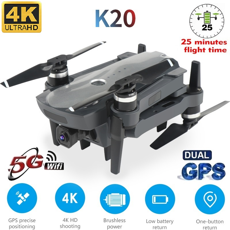 2020 new 5G drone K20, GPS and 4K high-definition electric adjustment camera, foldable four-axis professional-grade drone 1800M()