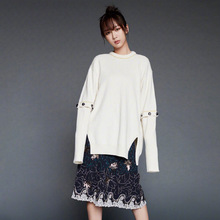 2019 Autumn New Star The Same Round Collar White Open-fork Sweater Women Lazy-style Fashion Sweaters