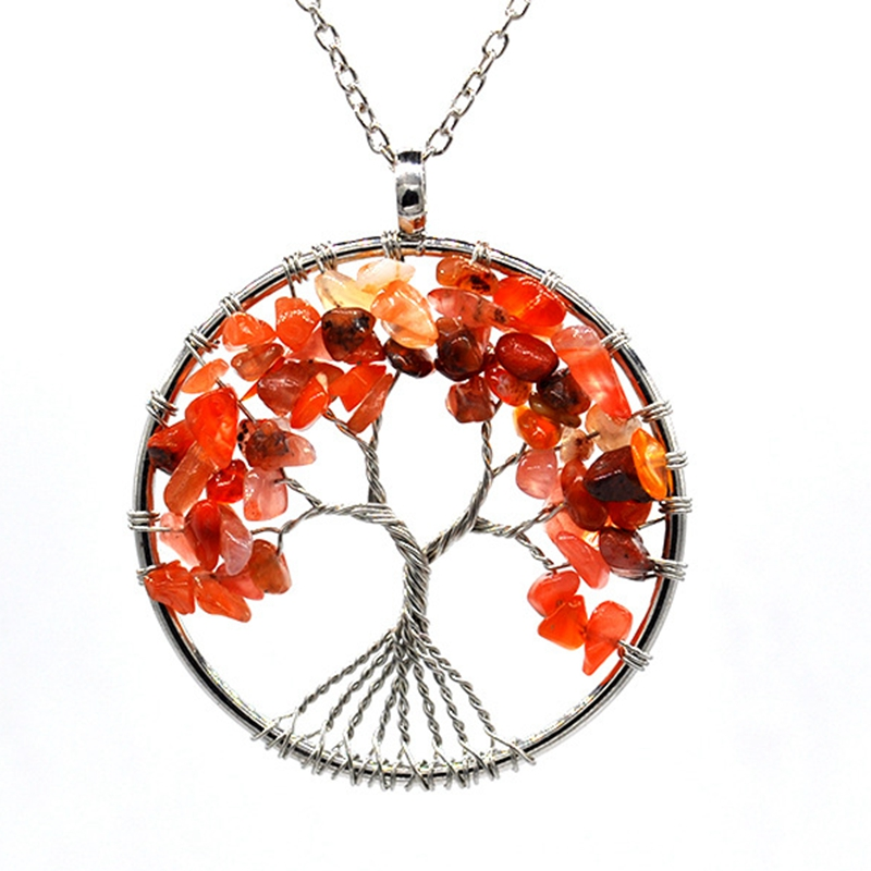 7 Chakra Quartz Natural Stone Tree of Life pendulum Pendant Necklace for Women  Healing Crystal Necklaces Pendants Reiki Jewelry 3