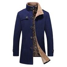 купить 2019 autumn new men's large size fur collar woolen coat men's single-breasted long woolen coat plus cotton warm windbreaker по цене 1087.04 рублей