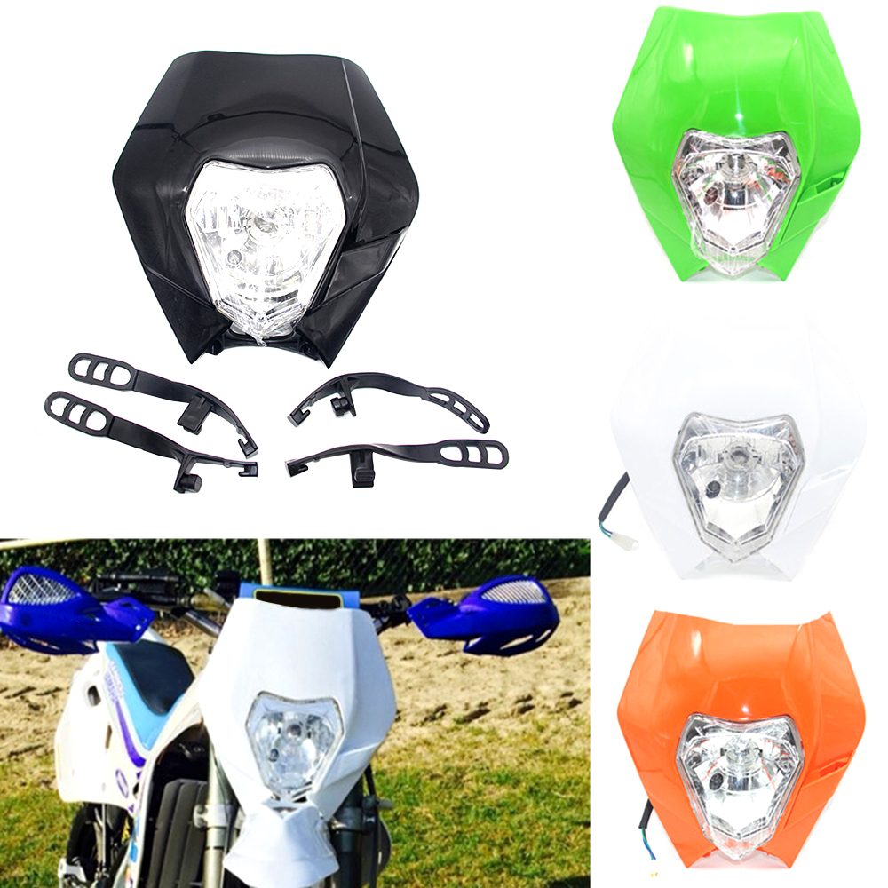 Motorcycle <font><b>Headlight</b></font> Headlamp Dual Sport <font><b>Dirtbike</b></font> Off Road Motocross Head Light Mask For KTM SMR EXC SX Yamaha WR image