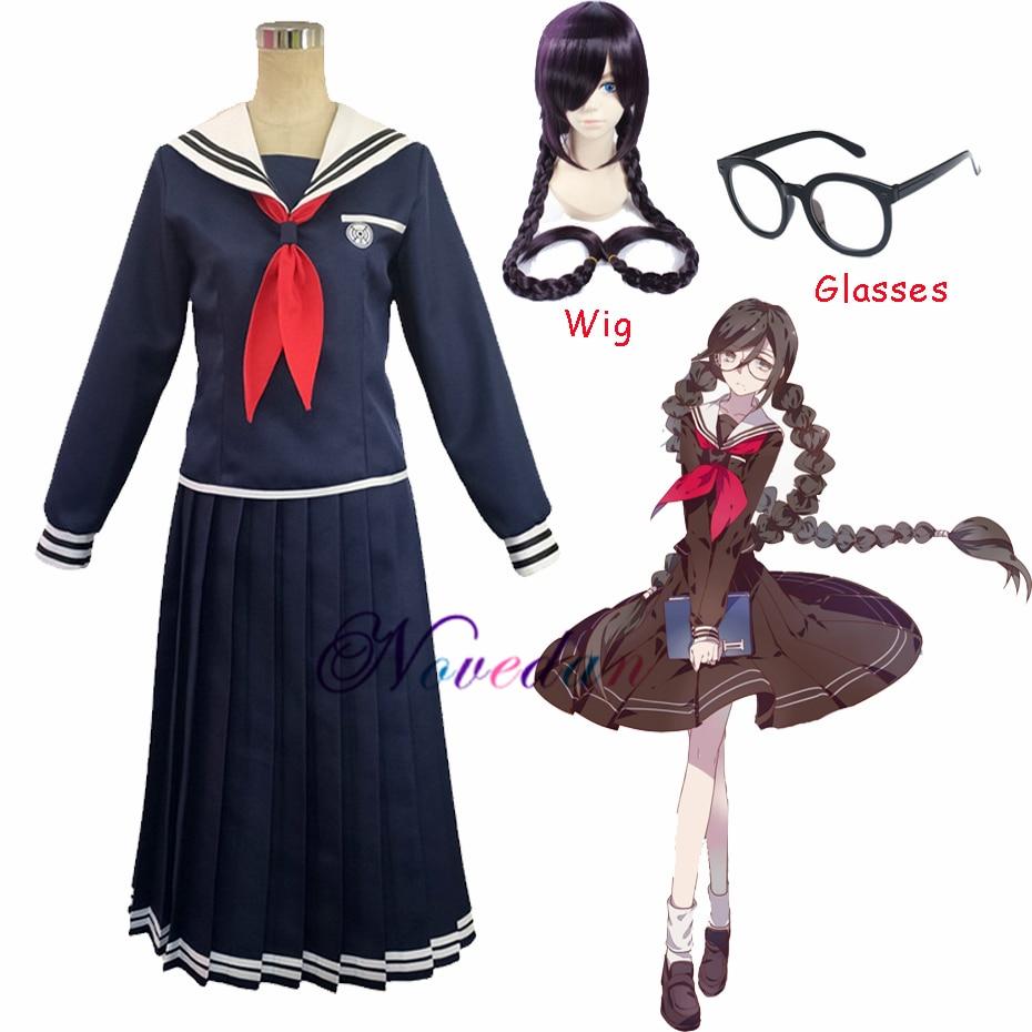 Anime Danganronpa Dangan-Ronpa 2 Toko Fukawa Cosplay Costume School Uniform Costume With Wig Glasses