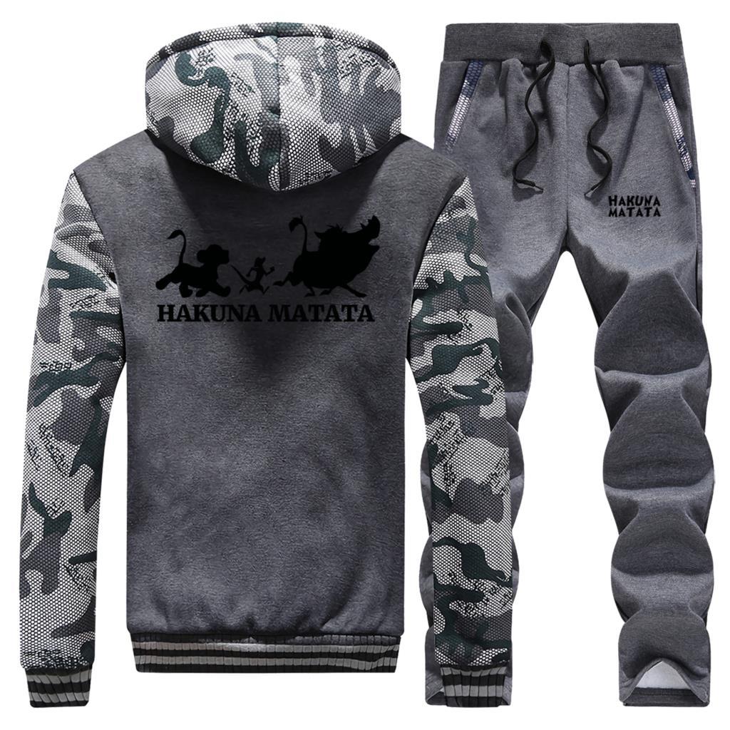 2019 Winter Hot Sale Cartoon Camouflage Men Fleece Hooded Streetwear The Lion King Coat Thick Suit Warm Jacket+Pants 2 Piece Set