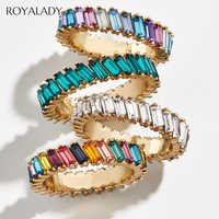 New Boho Rainbow Cz Stone Stacking Ring For Women Gold Silver Color Baguette Cubic Zirconia Wedding Engagement Eternity Rings