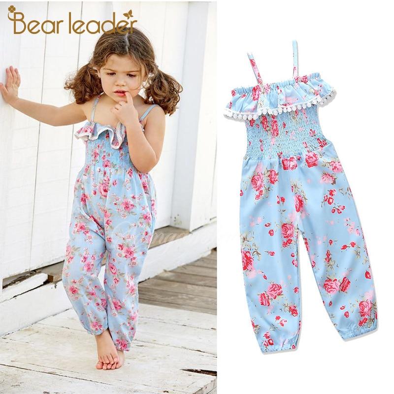 Комбинезон с цветочным принтом Bear Leader, Детские эластичные брюки на бретельках, брюки для девочек, детская одежда, детские штаны для От 3 до 7 лет