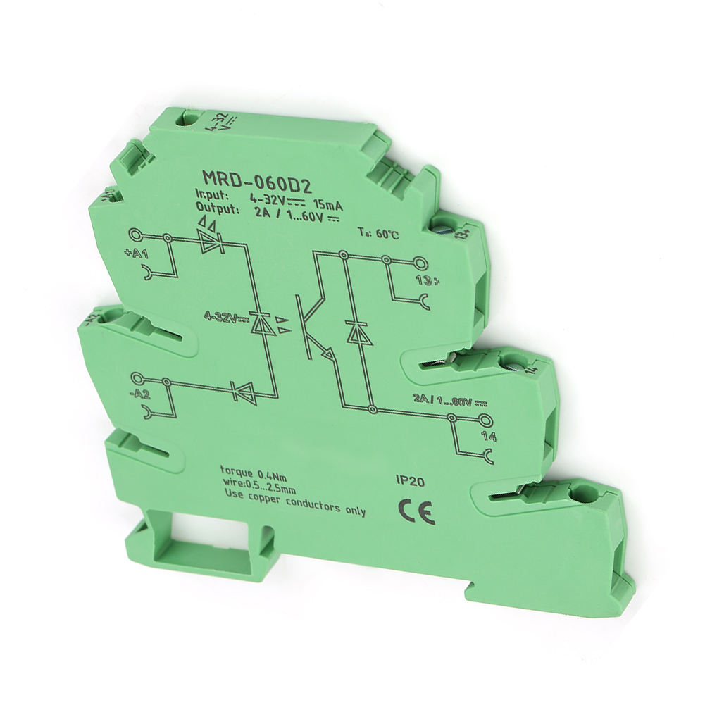 Solid State Relay Module MRD-060D2 Ultra-Thin 6.2mm Solid State Relay Module Input 4-32VDC NO Ultra-Thin Port Relay