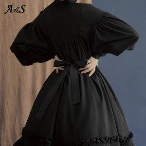 Готическое винтажное платье лолиты, женские дворцовые платья принцессы в японском стиле, милое праздничное платье с рукавами-фонариками, м...