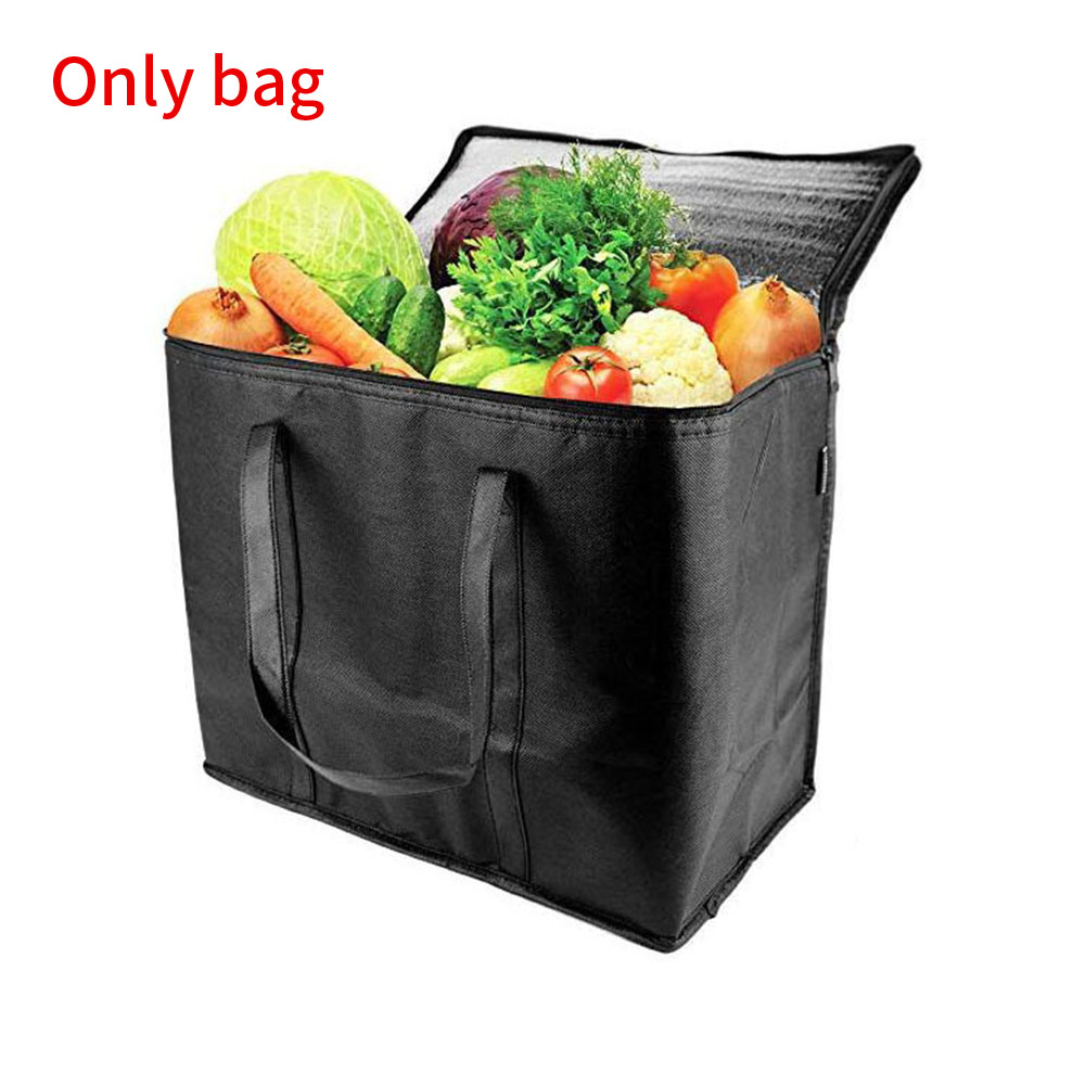 2pcs Portable Insulated Grocery Bags Washable Free Standing With Handle Large Capacity Durable Zipper Closure Foldable Reusable