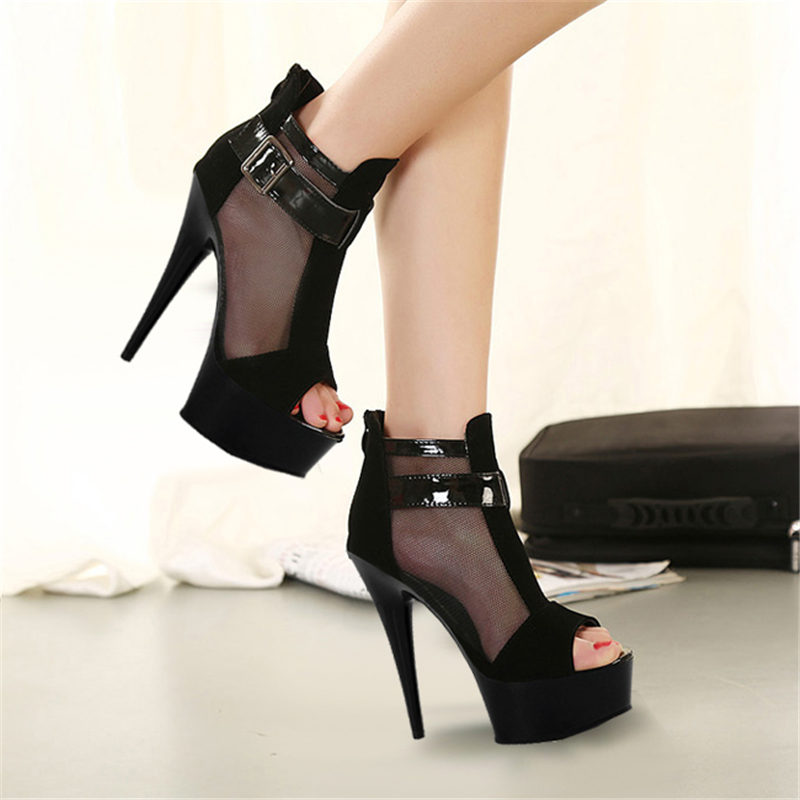 Moda malla sexy sandalias cinturón hebilla club zapatos 15 cm/17 cm tacones altos - 4