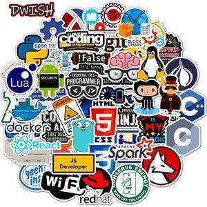 Image 1 - Autocollants Geek Java, autocollants en PVC imperméables, 10/30/50pcs programmeurs, guitare, Skateboard, valise, ordinateur portable, Graffiti, moto