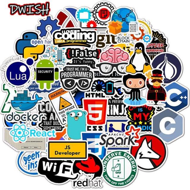 Autocollants Geek Java, autocollants en PVC imperméables, 10/30/50pcs programmeurs, guitare, Skateboard, valise, ordinateur portable, Graffiti, moto
