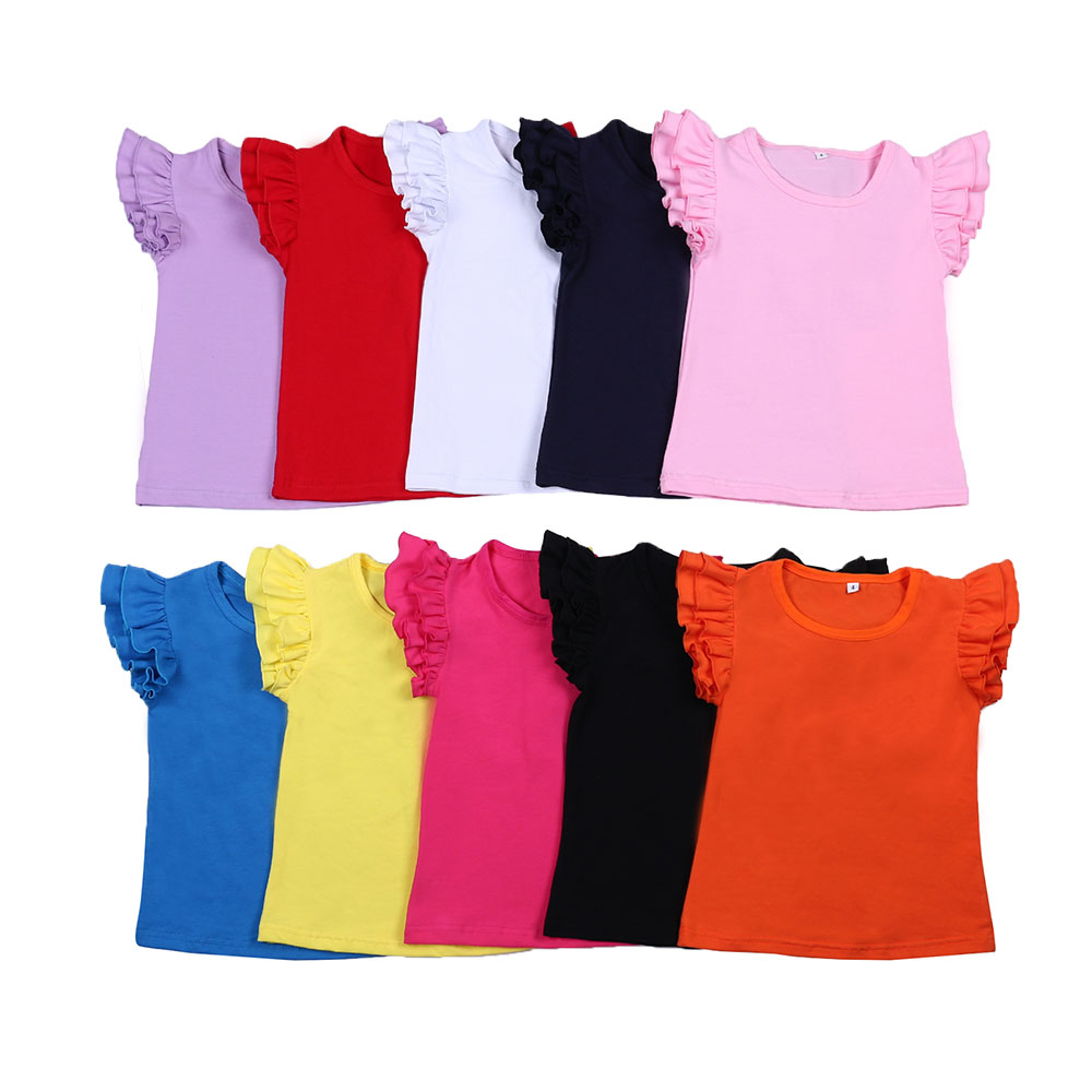 100% Cotton Girls Solid Tops Cute Shirts Summer Short Flutter Sleeve  T-shirts Kids Clothing  Tops Girl 2 Years