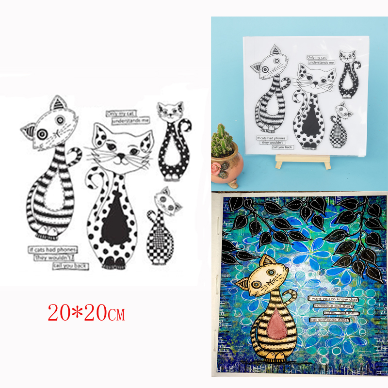 20*20CM Big Size Cute Cat Clear Stamp for DIY Scrapbooking Photo Album Crafts Stencil Card Bookmark Making Backgroud|Stamps|   - title=