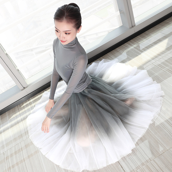 Women Ballet leotards Adults Dance Tops Skirts Suits Soft Gradient Gray Dress Costumes - discount item  21% OFF Stage & Dance Wear