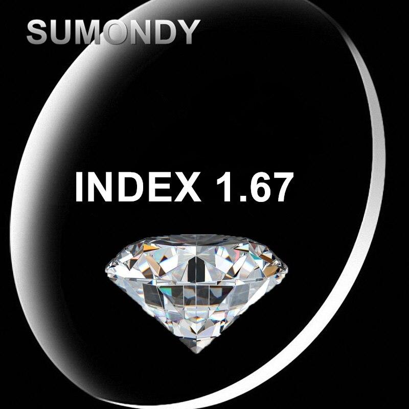 SUMONDY Index 1.67 revêtement Anti-rayonnement lentille en résine dure asphérique pour myopie lunettes myopiques Prescription G657