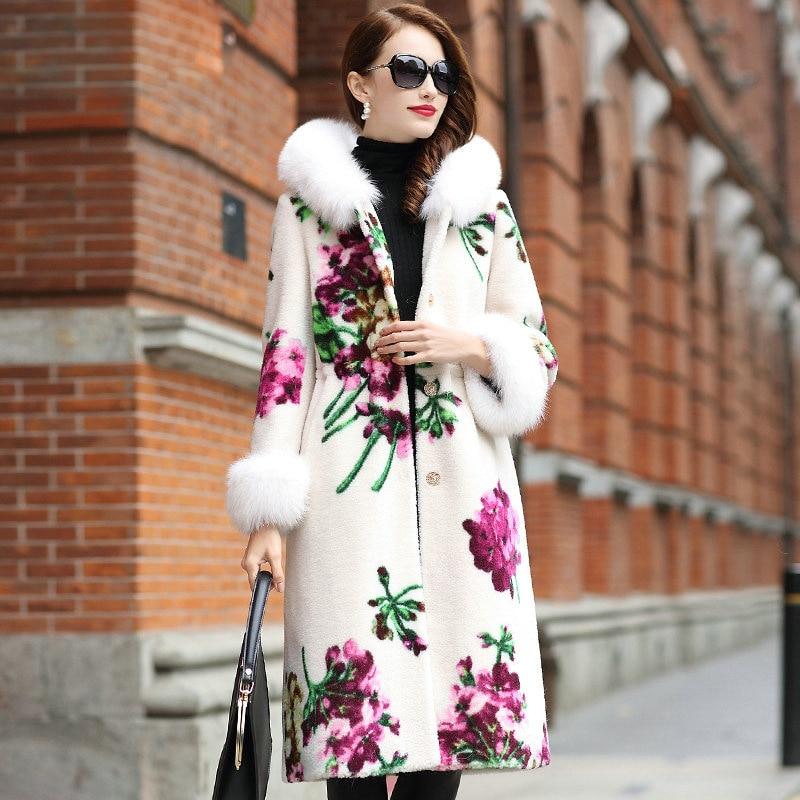 Winter High Quality Wool Coat Women Long Fox Print Jacket Real Fur Luxury White Thick Warm Outwear Casual  Fox Fur Wool Overcoat