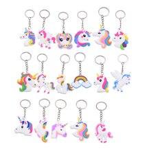 5/10pcs Trendy PVC Unicorn Key Chain Rainbow PVC Keychain for Kids Favor Gifts Decoration DIY Cute Animal Unicorn Alloy Key Ring