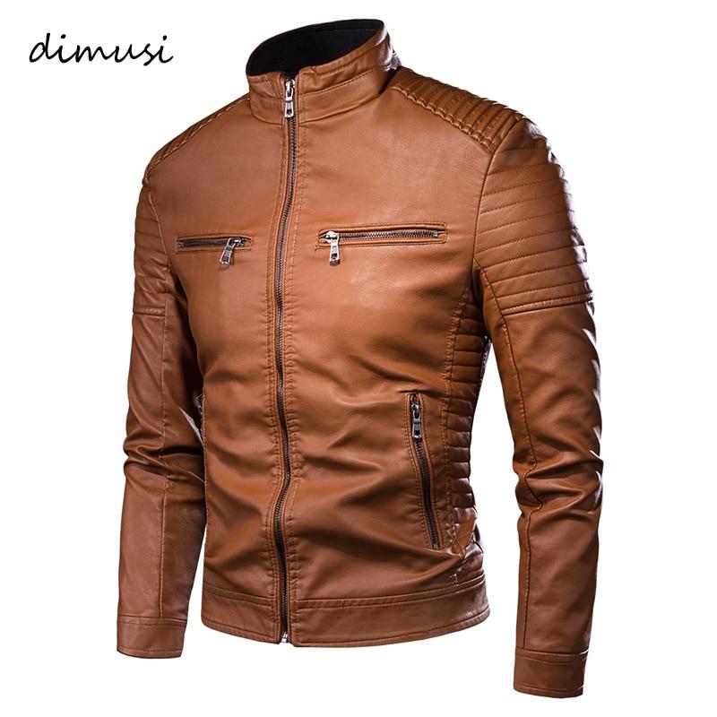 DIMUSI Men's Jacket Fashion Mens Vintage Leather Jackets Casual Men Faux Leather Motorcycle Jackets Biker Zipper Pockets Coats
