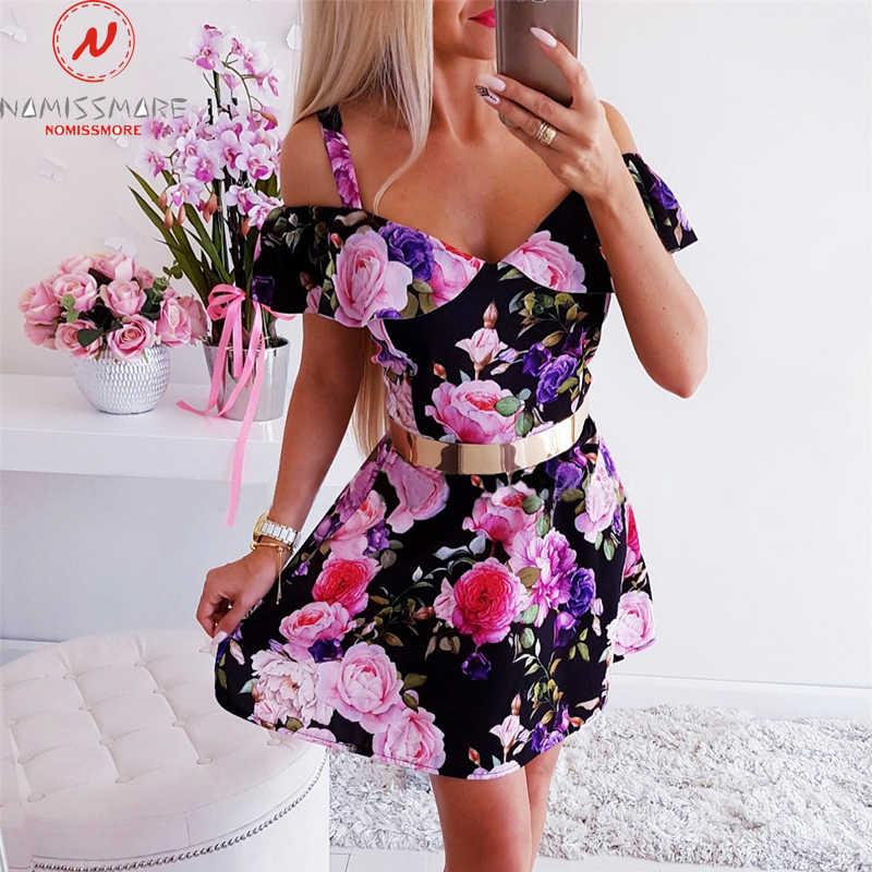 Mode Vrouwen Jurk Voor Party Streetwear Rullfes Decor Sling Korte Mouw Bloemenprint Mini Lady Zomer Slim Strapless Jurk