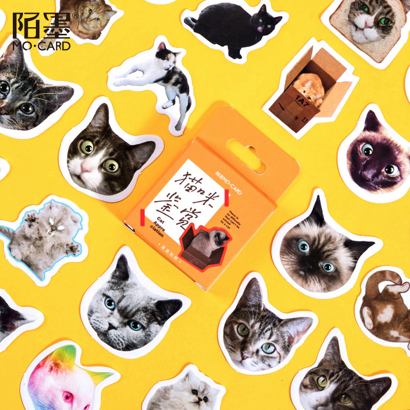 46pcs/pack Cute Cats Stickers Diary Scrapbooking Labels Decorative Tags