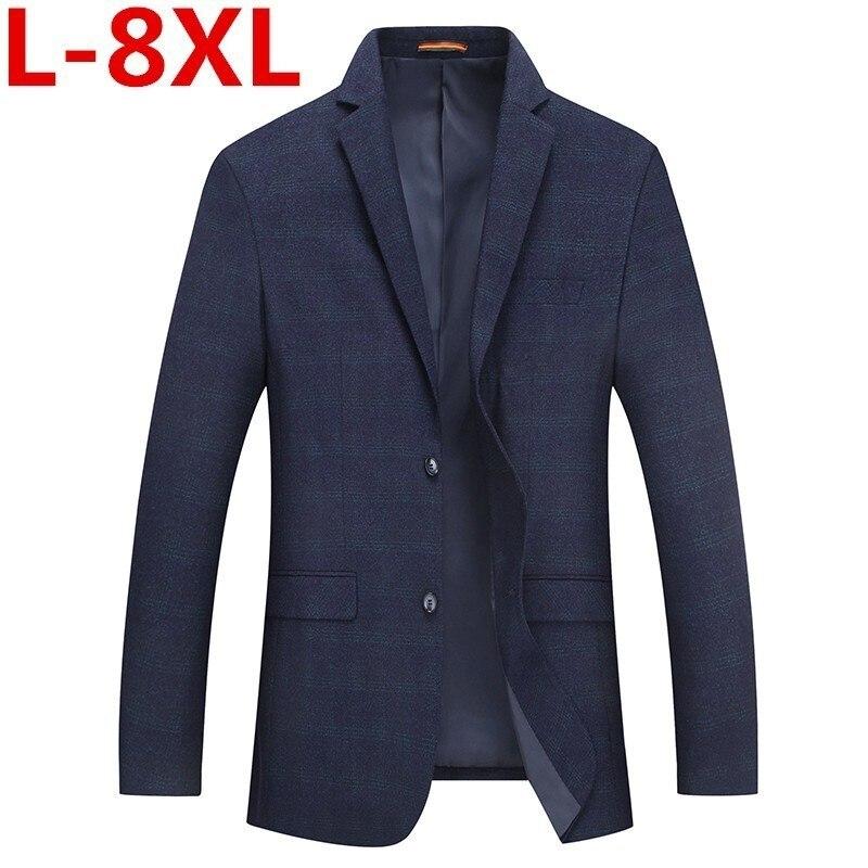 High Quality Plus Size 8XL 7XL Mens Korean Slim Fit Fashion Cotton Blazer Suit Jacket Male Blazers Mens Coat Wedding Large Size